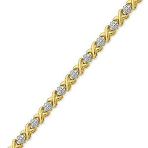 Diamond Accent X Link Bracelet in Gold over Fine S